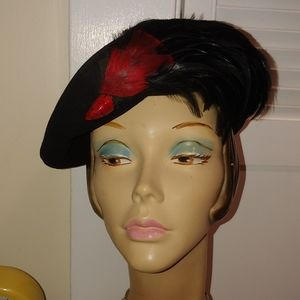 Vintage 1940s Black Hat with Red Feathers